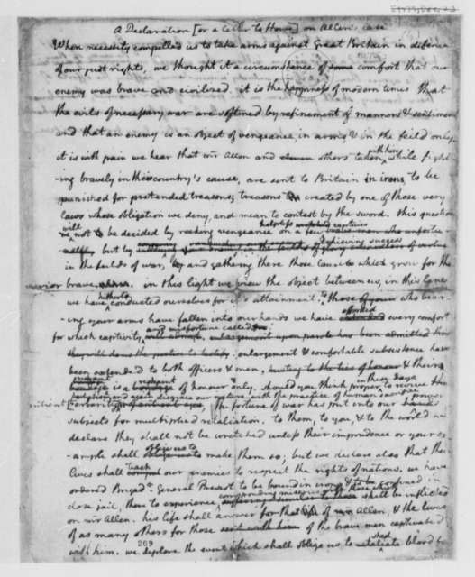 Continental Congress to William Howe, January 2, 1776, Draft of Declaration on the British Treatment of Ethan Allen