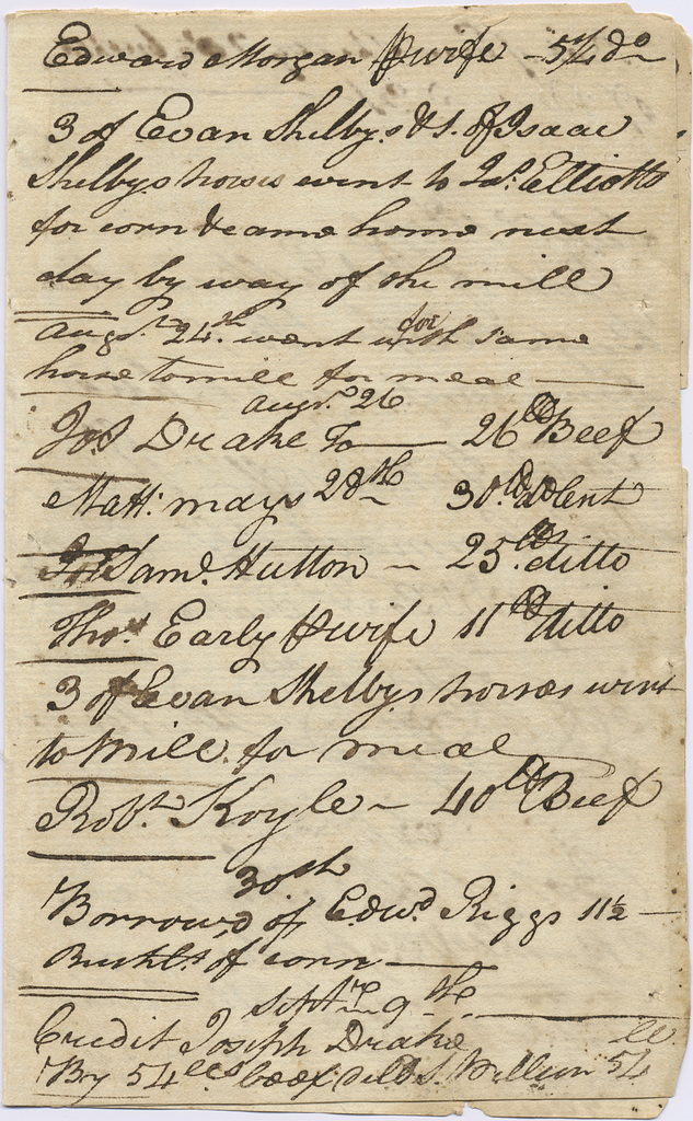 Day book for Isaac Shelby's company station, Beaver Creek, Southwest Virginia