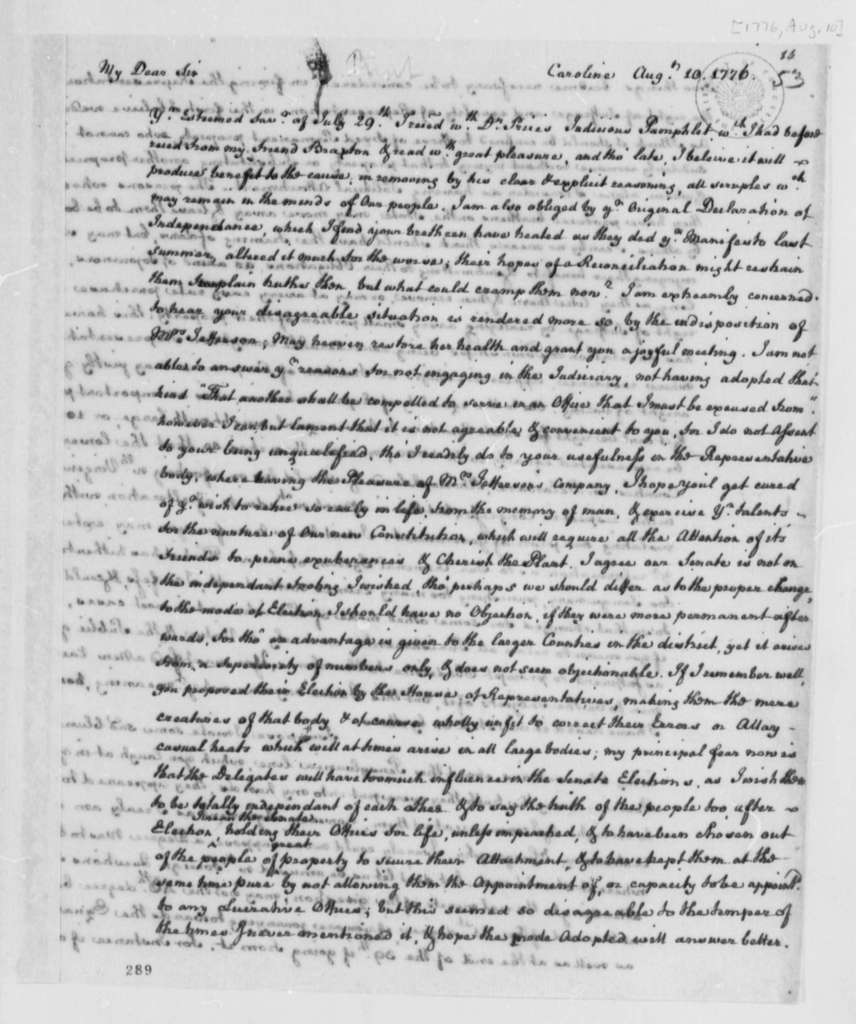 Edmund Pendleton, August 10, 1776, Opinion on Two Houses for New Congress; Pennsylvania-Virginia Boundary Dispute