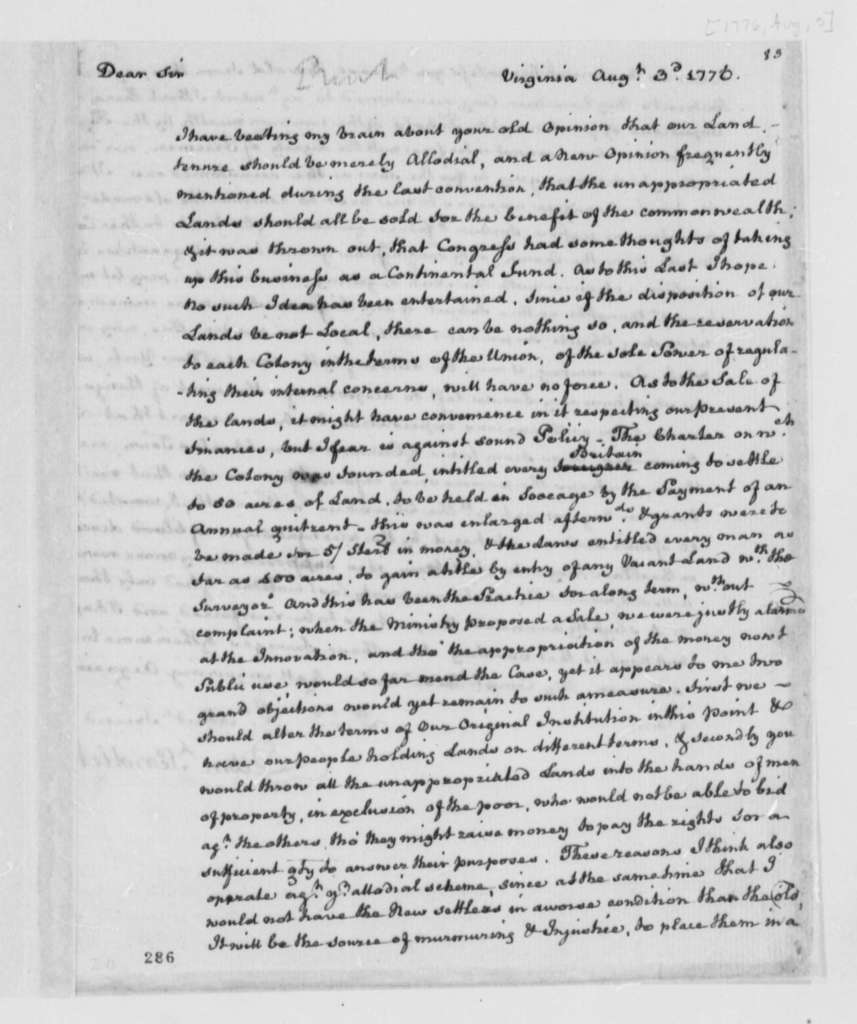 Edmund Pendleton to Thomas Jefferson, August 3, 1776, Allodial System of Land Distribution; Quit-rent System