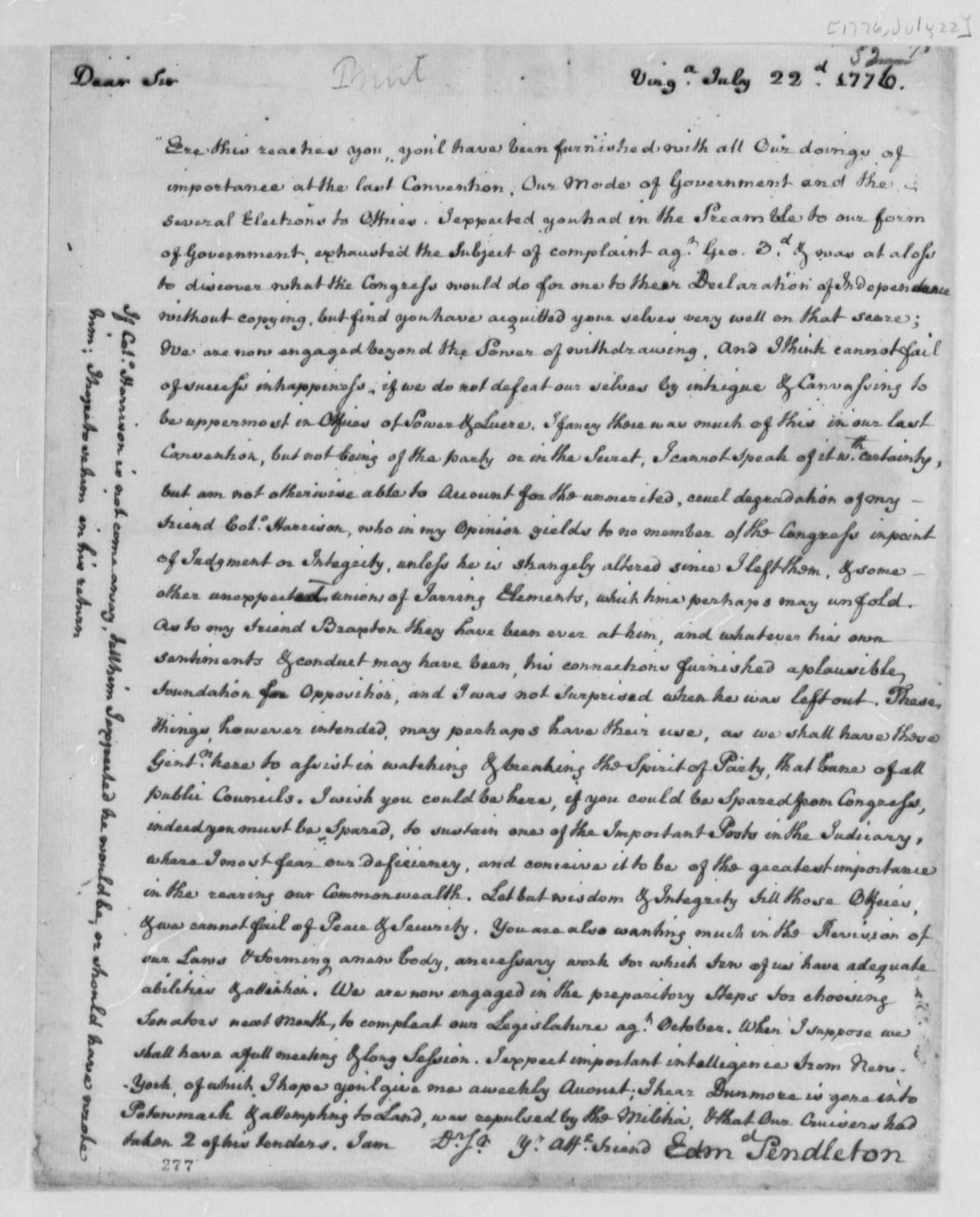 Edmund Pendleton to Thomas Jefferson, July 22, 1776, Virginia Convention; Declaration of Independence
