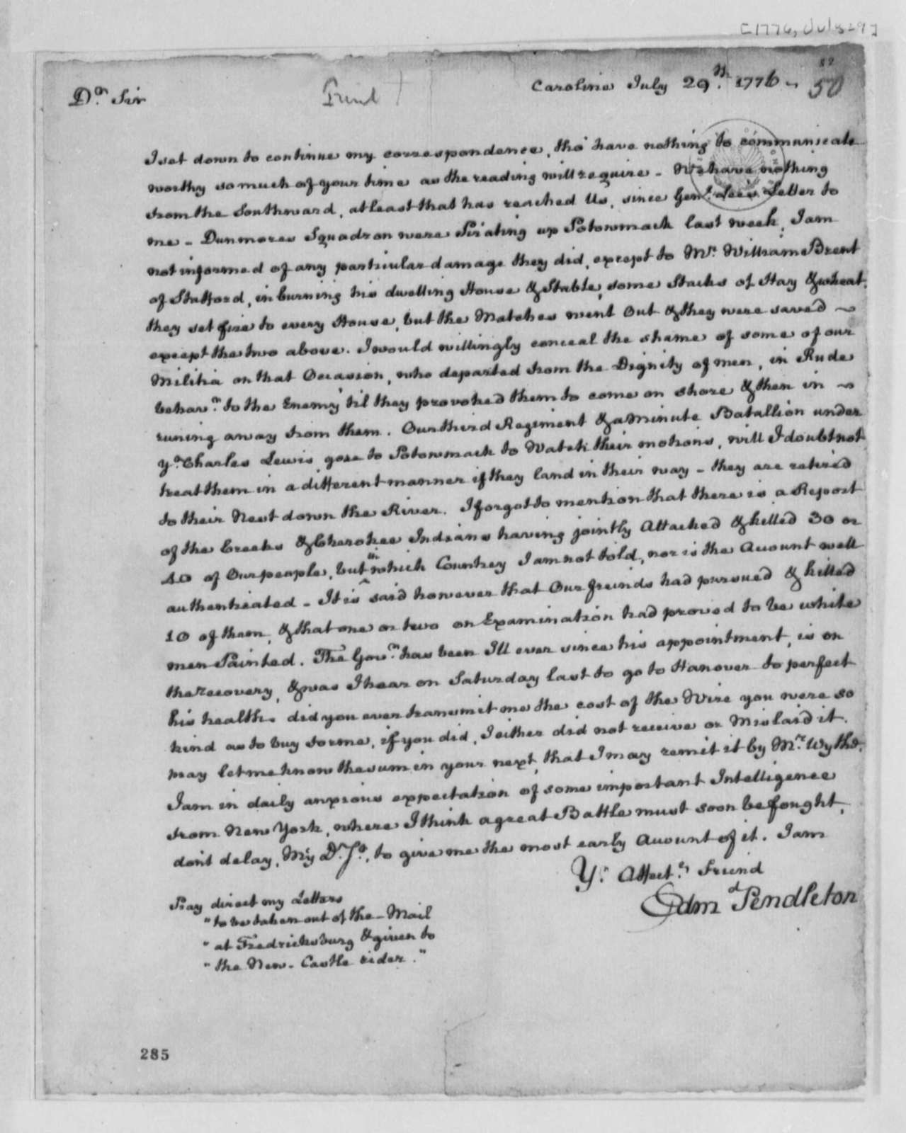 Edmund Pendleton to Thomas Jefferson, July 29, 1776, Military News; Indian Hostilities
