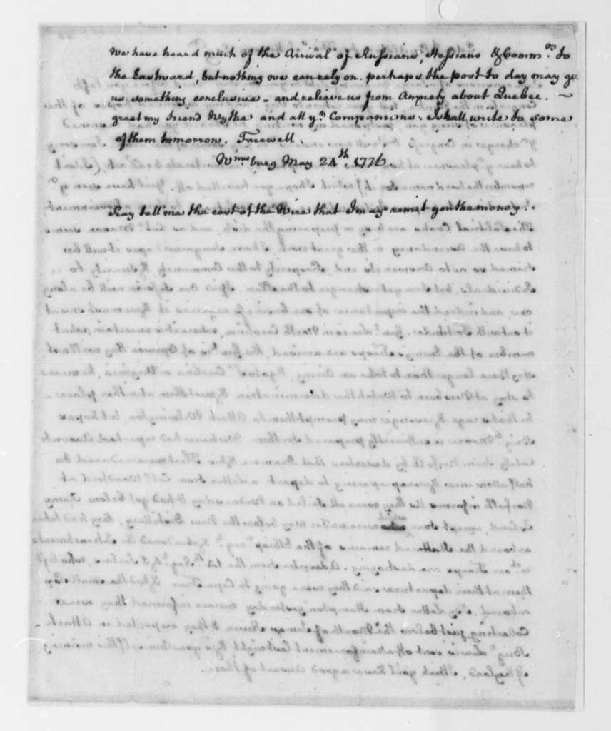 Edmund Pendleton to Thomas Jefferson, May 24, 1776, Political Speculation; Naval Intelligence