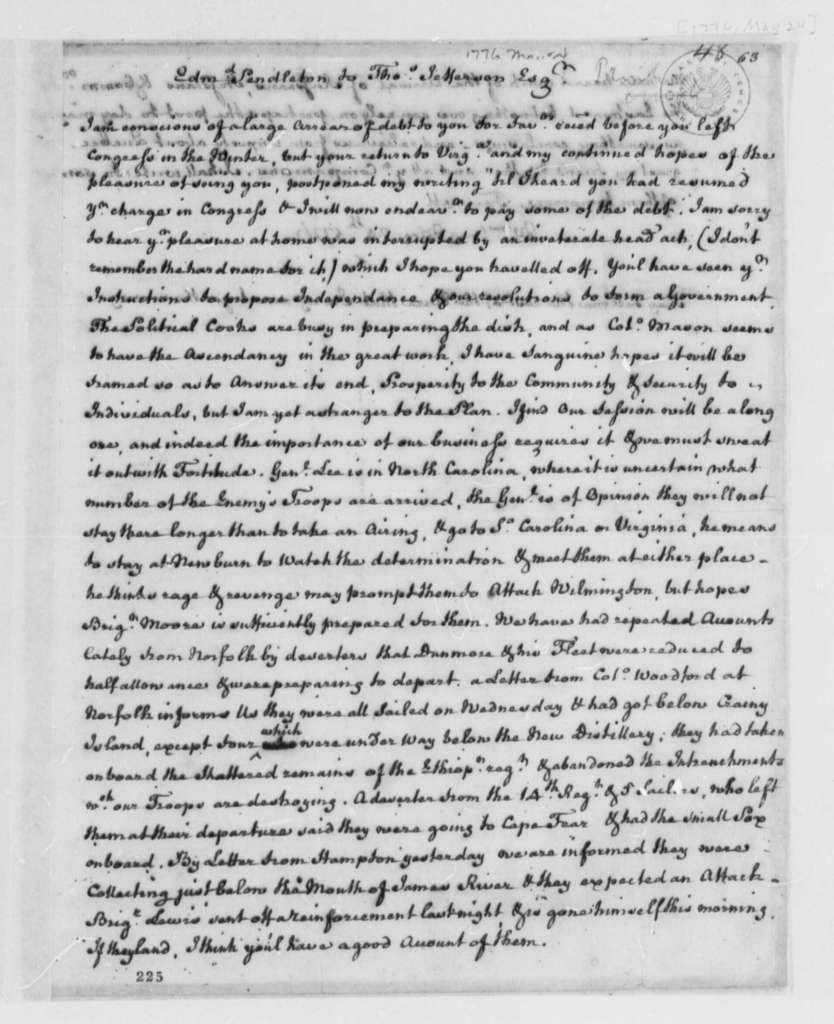 Edmund Pendleton to Thomas Jefferson, May 24, 1776, Political Speculation; Naval Intelligence