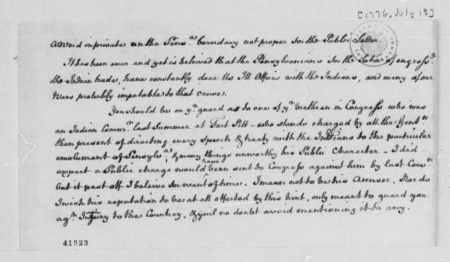 Edmund Pendleton to Virginia Delegates in the Continental Congress, July 13, 1776, Private Addenda to Letter of Same Date; Pennsylvania-Virginia Boundary Dispute; Indian Lands