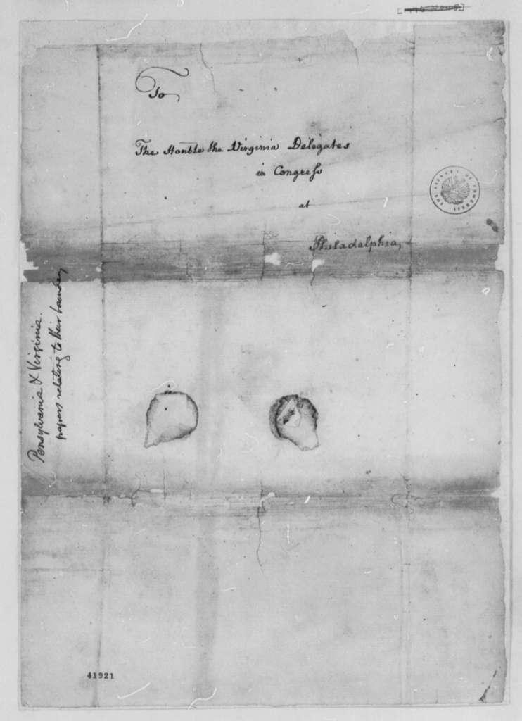 Edmund Pendleton to Virginia Delegates in the Continental Congress, July 15, 1776, Pennsylvania-Virginia Boundary Dispute