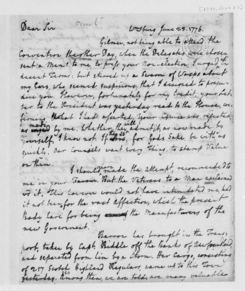 Edmund Randolph to Thomas Jefferson, June 23, 1776, Comment on Virginia Convention