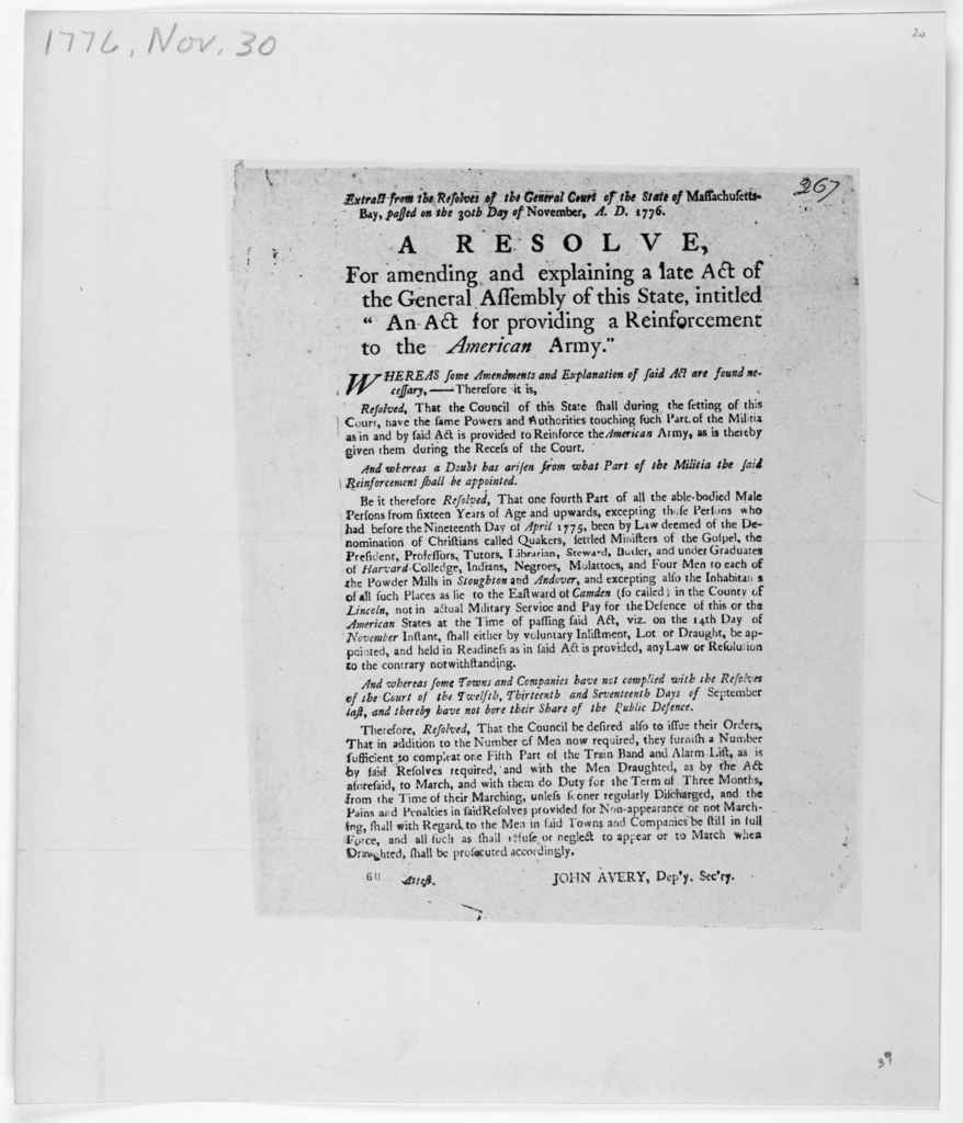 "Extract form the resolves of the General Court of the State of Massachusetts, passed on the 30th day of November, A. D. 1776. A resolve for amending and explaining a late act of the General assembly of this State, intitled ""An act for providing"