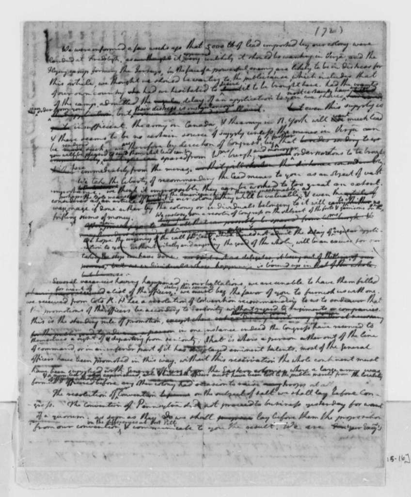 Fielding Lewis and Edmund Pendleton to Virginia Delegates in the Continental Congress, July 16, 1776, Drafted by Jefferson
