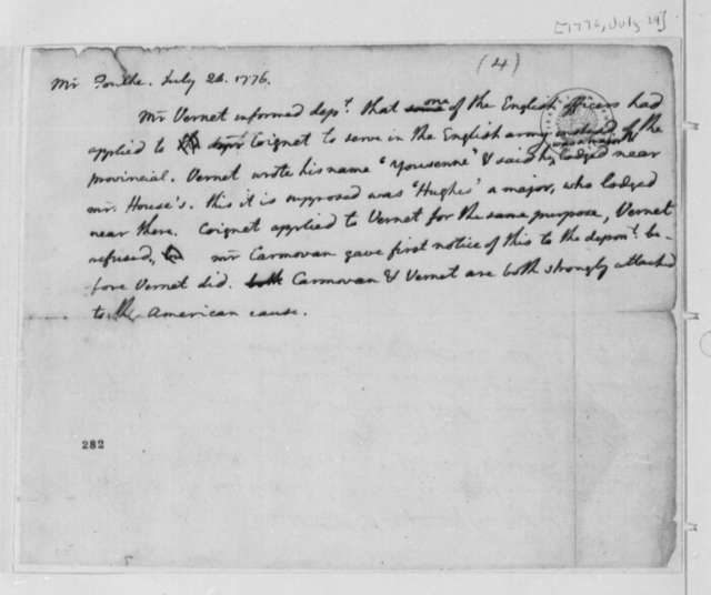 Foulke, July 24, 1776, Testimony on British and American Sympathies of Various Soldiers; Hughes, et al