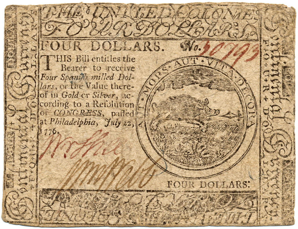 Four Dollars This Bill En Les The Bearer To Receive Four Spanish Milled Dollars Or The Value Thereof In Gold Or Silver According To A Resolution Of
