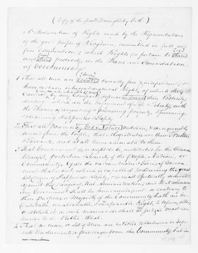 """George Mason, June,1776. """"Copy of the first Draught by G M"""""""