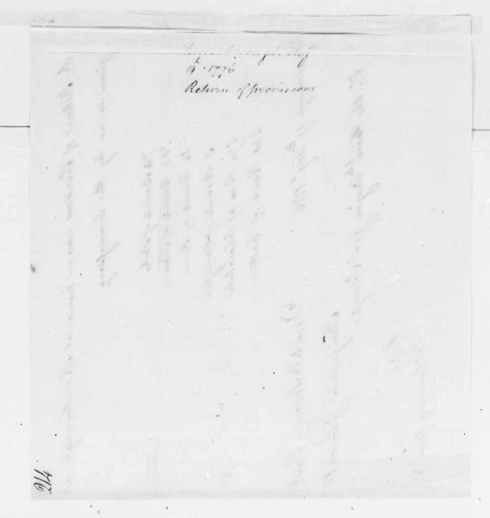 George Washington Papers, Series 4, General Correspondence: David Waterbury to Philip J. Schuyler, August 19, 1776, Report on Provisions
