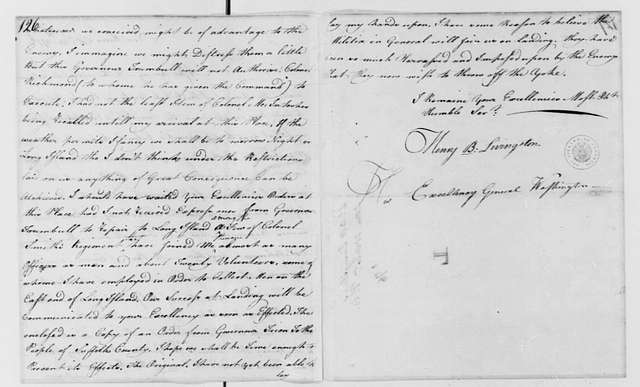 George Washington Papers, Series 4, General Correspondence: Henry B. Livingston to George Washington, October 28, 1776
