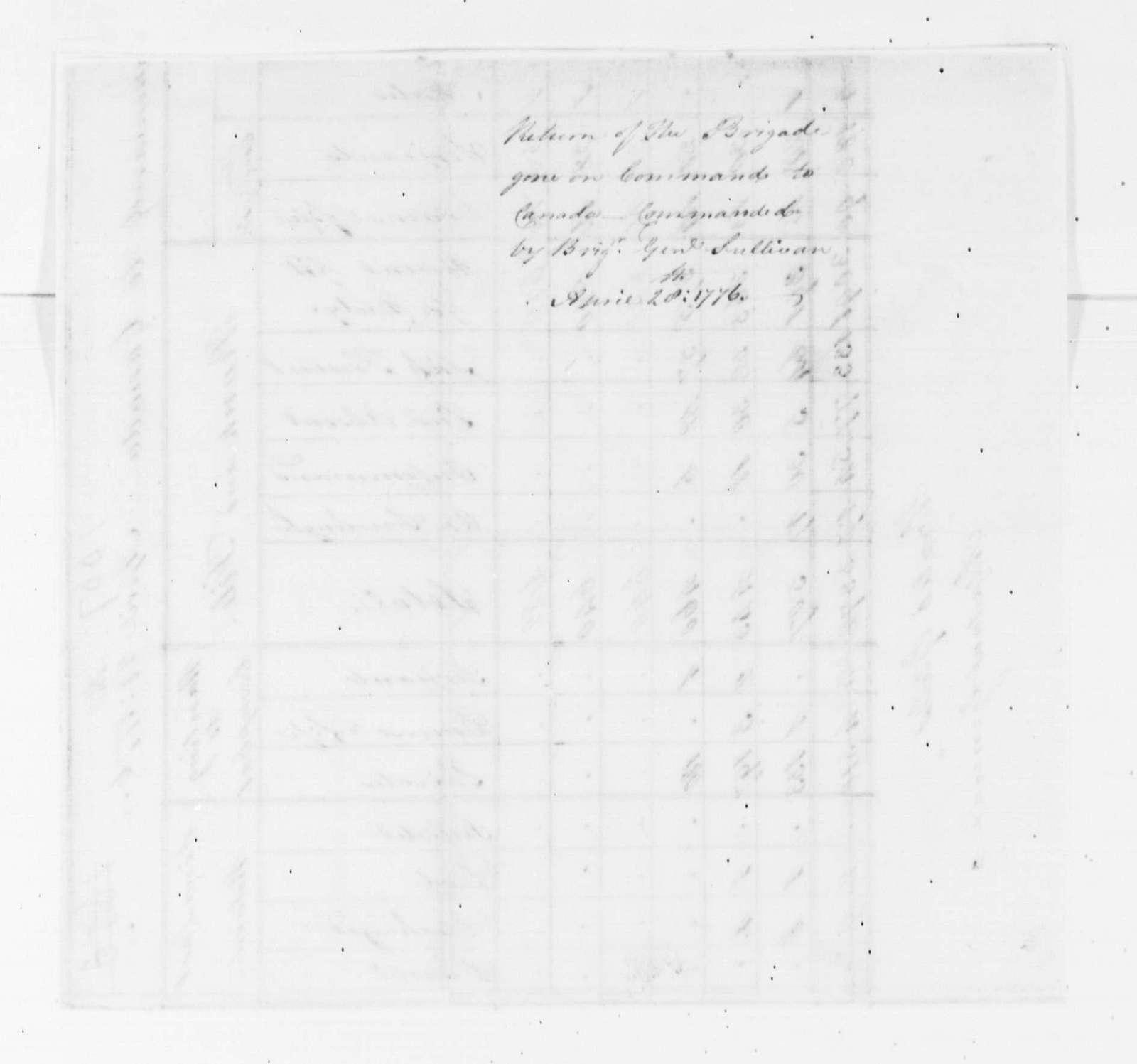 George Washington Papers, Series 4, General Correspondence: Horatio Gates, April 28, 1776, Report on Brigade Going to Canada under John Sullivan