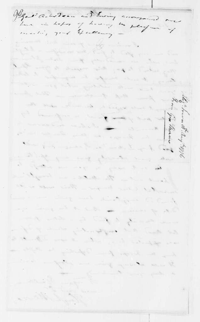 George Washington Papers, Series 4, General Correspondence: Hugh Mercer to George Washington, August 8, 1776
