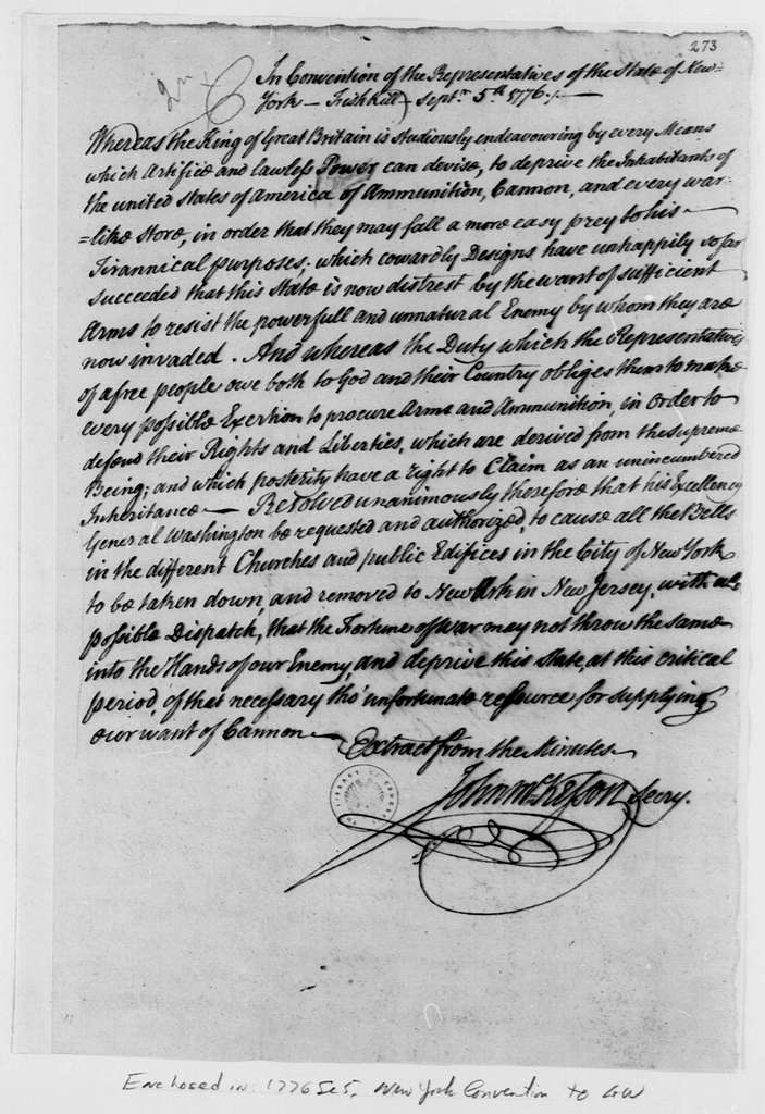George Washington Papers, Series 4, General Correspondence: New York Convention to George Washington, September 5, 1776, with Resolution