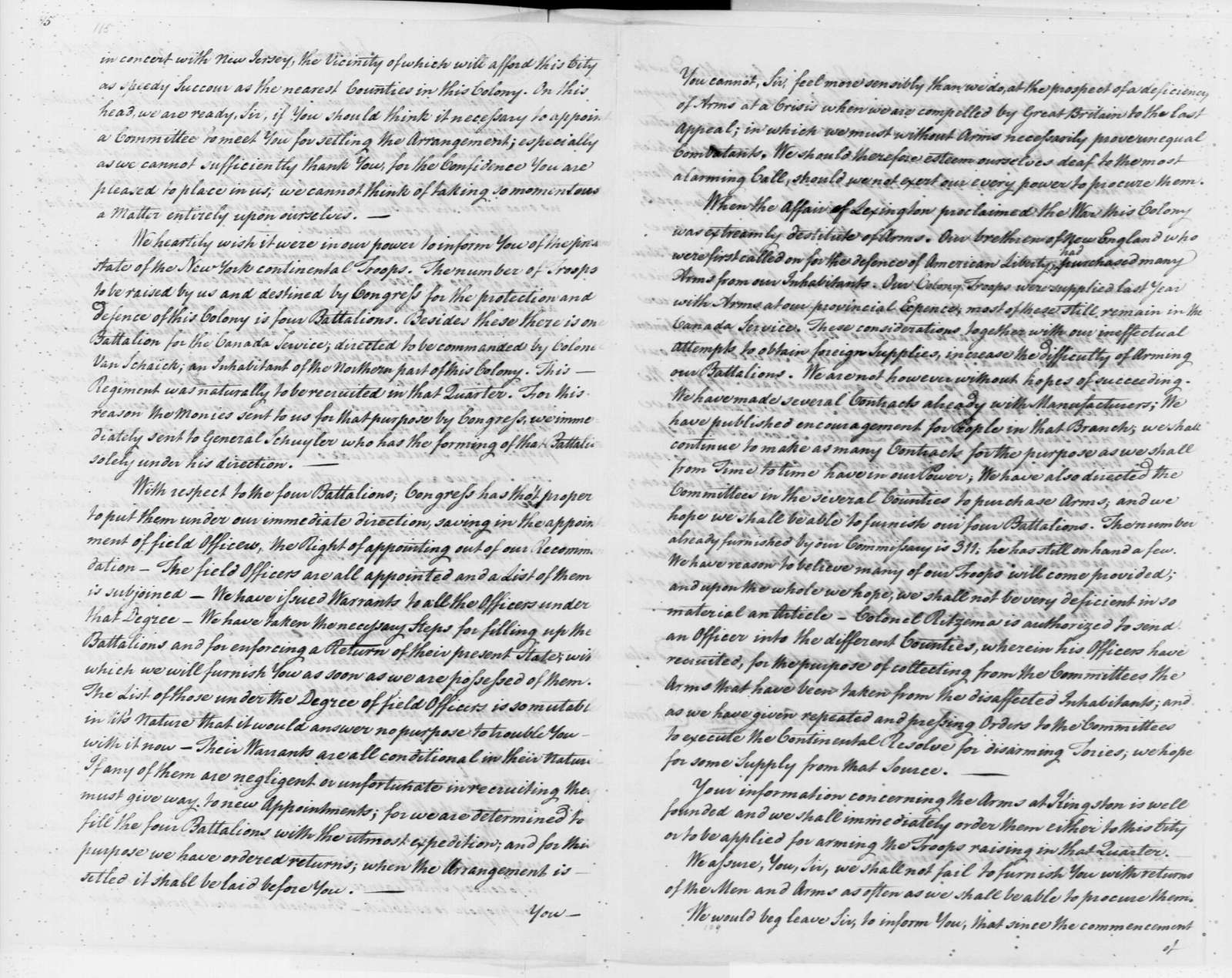 George Washington Papers, Series 4, General Correspondence: New York Safety Committee to George Washington, April 25, 1776, with Account and Officer List