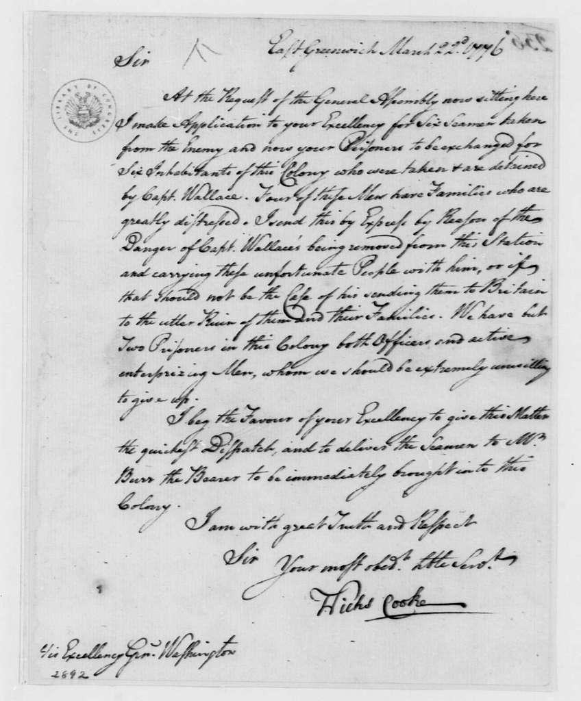 George Washington Papers, Series 4, General Correspondence: Nicholas Cooke to George Washington, March 22, 1776