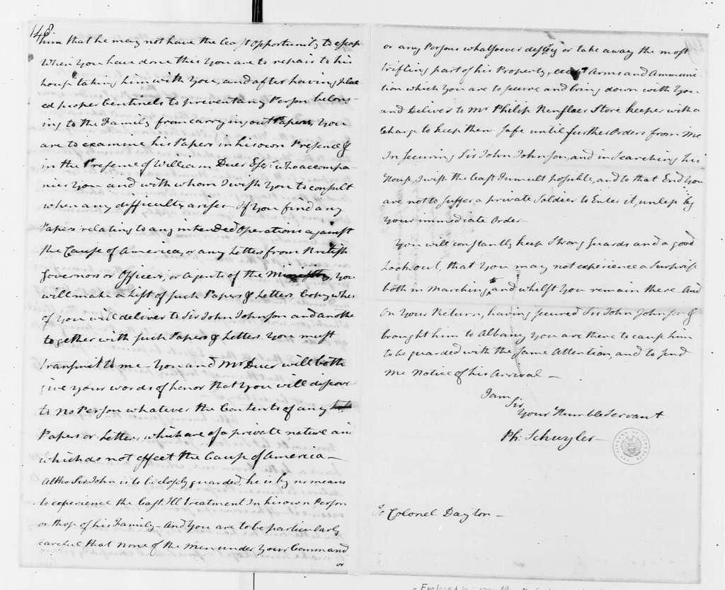 George Washington Papers, Series 4, General Correspondence: Philip J. Schuyler to Elias Dayton, May 14, 1776