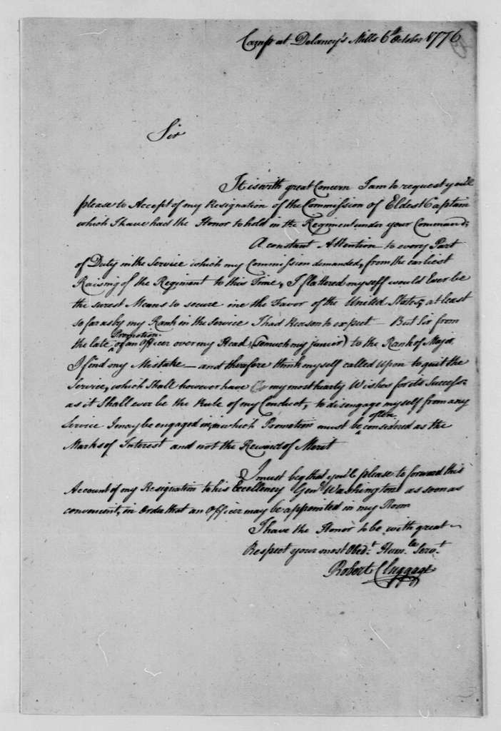 George Washington Papers, Series 4, General Correspondence: Robert Cluggage to Edward Hand, October 6, 1776