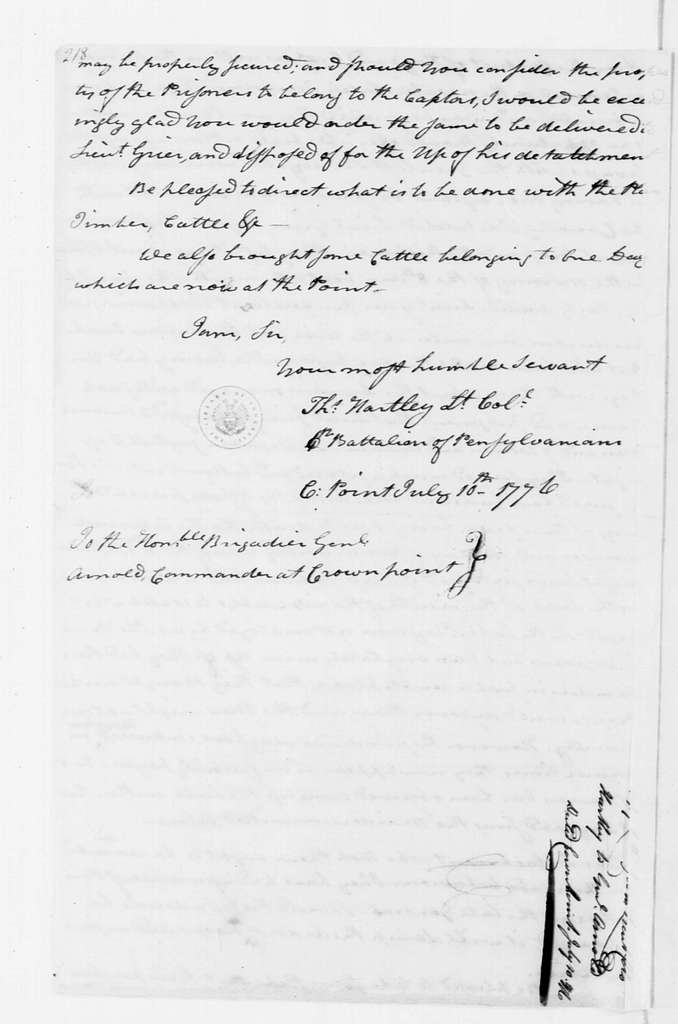 George Washington Papers, Series 4, General Correspondence: Thomas Hartley to Benedict Arnold, July 10, 1776
