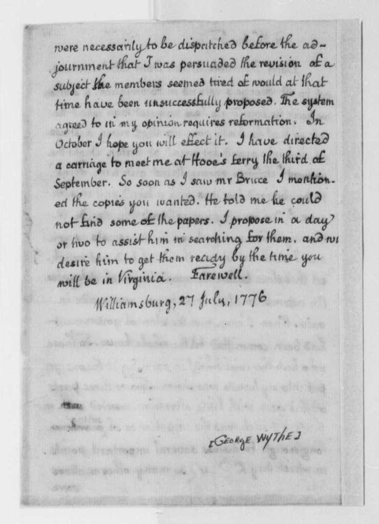 George Wythe to Thomas Jefferson, July 27, 1776, Virginia Constitution