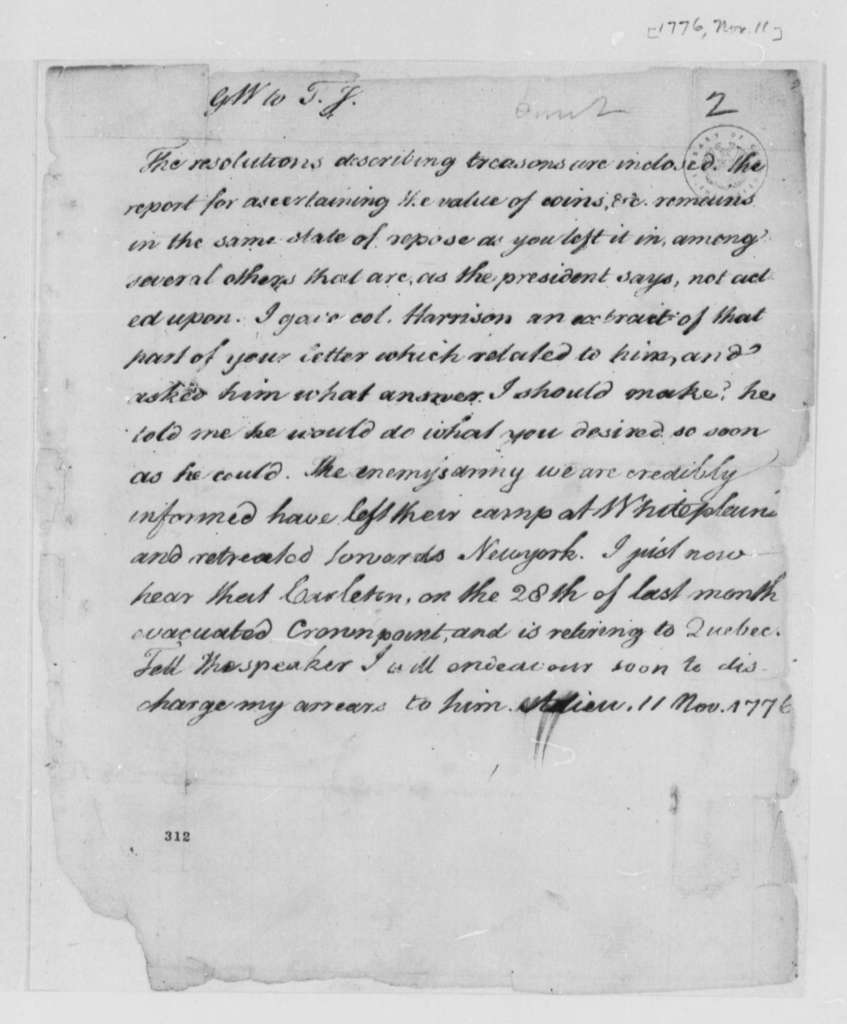 George Wythe to Thomas Jefferson, November 11, 1776, British Troop Movements in New York