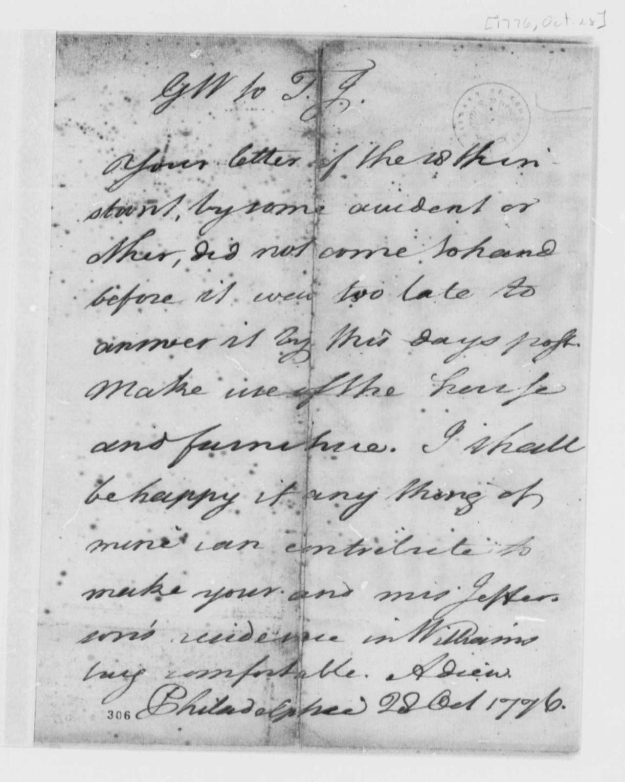 George Wythe to Thomas Jefferson, October 28, 1776, Memorandum Granting Permission for Jefferson's to Use Wythe's House in Williamsburg, Virginia