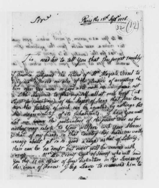 Giovanni Fabbroni to Thomas Jefferson, September 15, 1776, Introduction of Martial-Jean-Anotine Crozat de Crenis; with Jefferson's Notes on Importation of Skilled Workers and Musicians