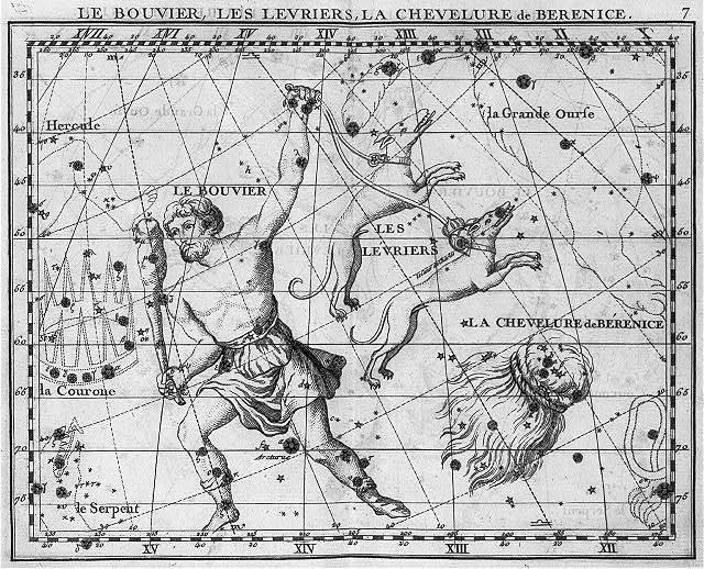 "[Illus. of 3 constellations: ""Le Bouvier"" (Bootes - the Ploughman), ""Les Levriers"" (Canes Venatici - 2 hounds) and ""Le Chevelure de Berenice"" (Coma Berenices - hair of Berenice)]"