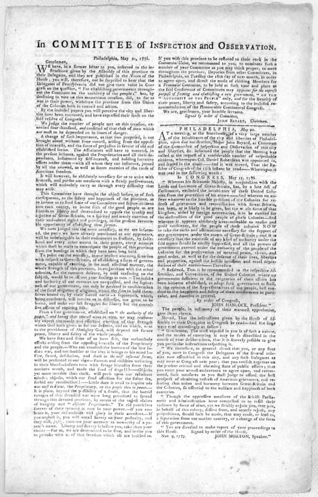 In Committee of inspection and observation Philadelphia, May 21, 1776. Gentlemen. We have, in a former letter to you, referred to the instructions given by the Assembly of this province to their delegates, and they are published in the Votes of