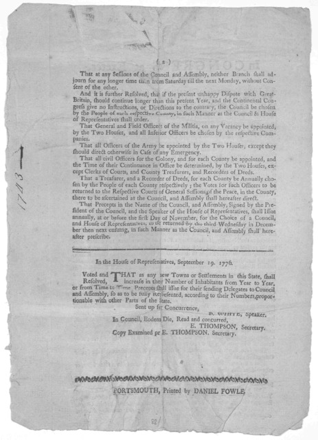 In Congress at Exeter, January 5th, 1776. We the members of the Congress of the Colony of New-Hampshire, chosen and appointed by the free suffrages of the people of said Colony ... to establish some form of government, provided that measure shou