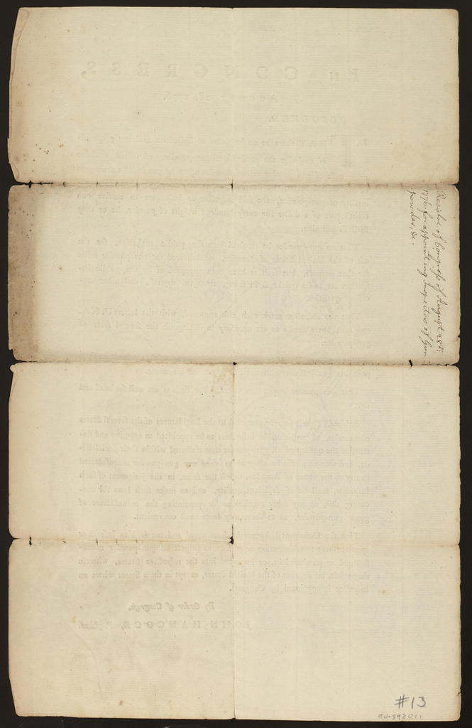 In Congress, August 28, 1776 : Resolved, that there be an inspector or inspectors sufficiently qualified to judge the goodness of gun-powder, who shall examine every cask of gun-powder manufactured or to be purchased on account of the United States, by the most approved method of ascertaining the quality of gun-powder ...