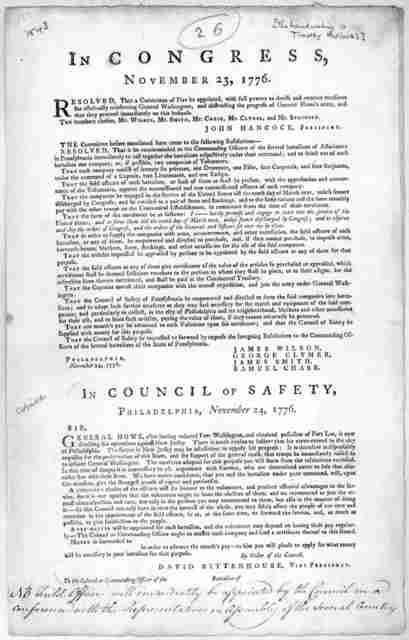 In Congress, November 23, 1776. Resolved that a committee of five to be appointed, with full powers to devise and execute measures for effectually reinforcing General Washington, and obstructing the progress of General Howe's army, and that they