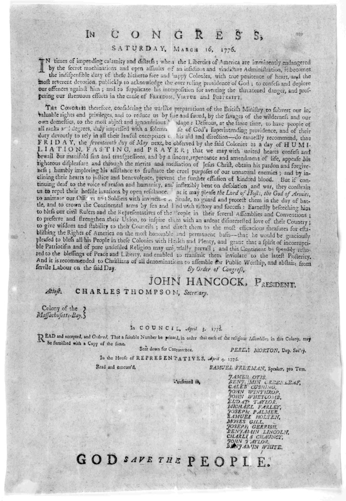 In Congress, Saturday, March 16, 1776. In times of impending calamity and distress; when the liberties of America are immenently endangered by the secret machinations and open  assaults of an insidious and vindictive administration, it becomes t