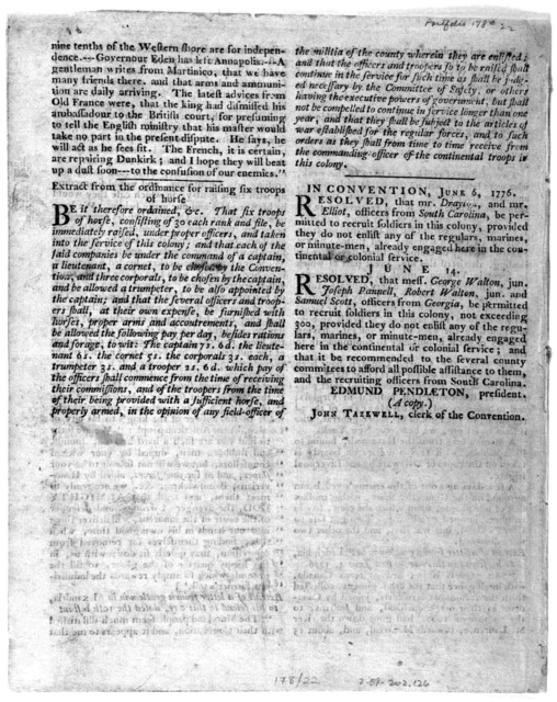 In convention. June 12, 1776. A declaration of rights made by the representatives of the good people of Virginia, assembled in full and free convention; which rights do pertain to them and their posterity, as the basis and foundation of governme