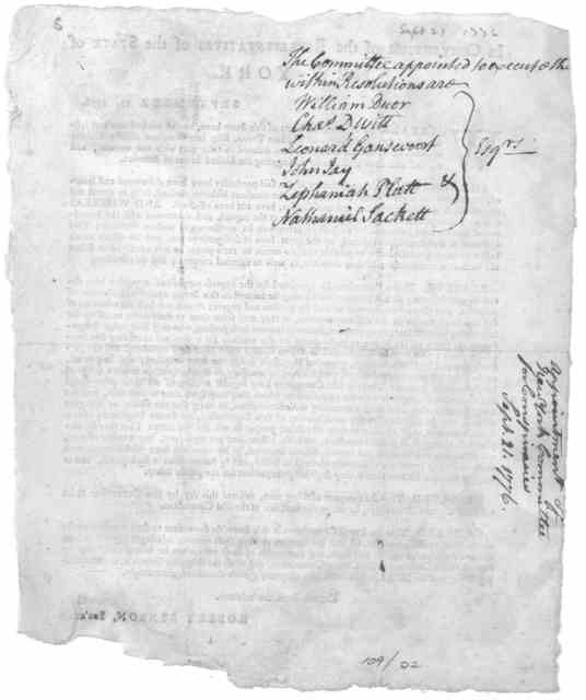 In convention of the Representatives of the State of New-York. September 21, 1776. Whereas divers of the inhabitants of this State have by the wicked arts and insiduous and corrupt practices of William Tryon, Esq; late Governor of the Colony of