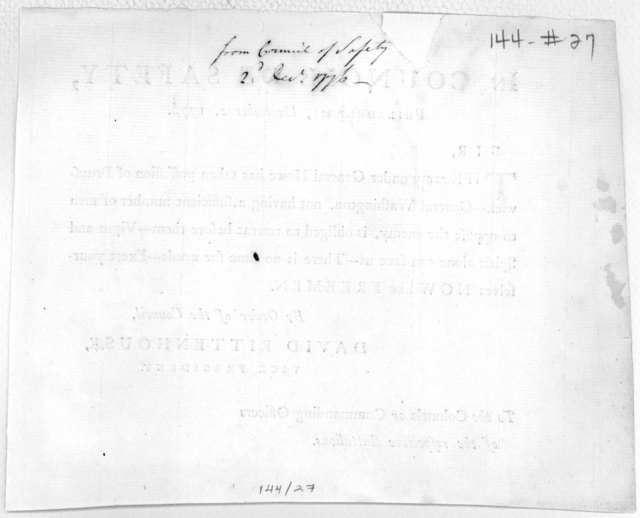 In Council of Safety, Philadelphia, December 2, 1776. Sir. The army under General Howe has taken possession of Brunswick--- General Washington, not having a sufficient number of men to oppose the enemy, is obliged to retreat before them-- Vigor