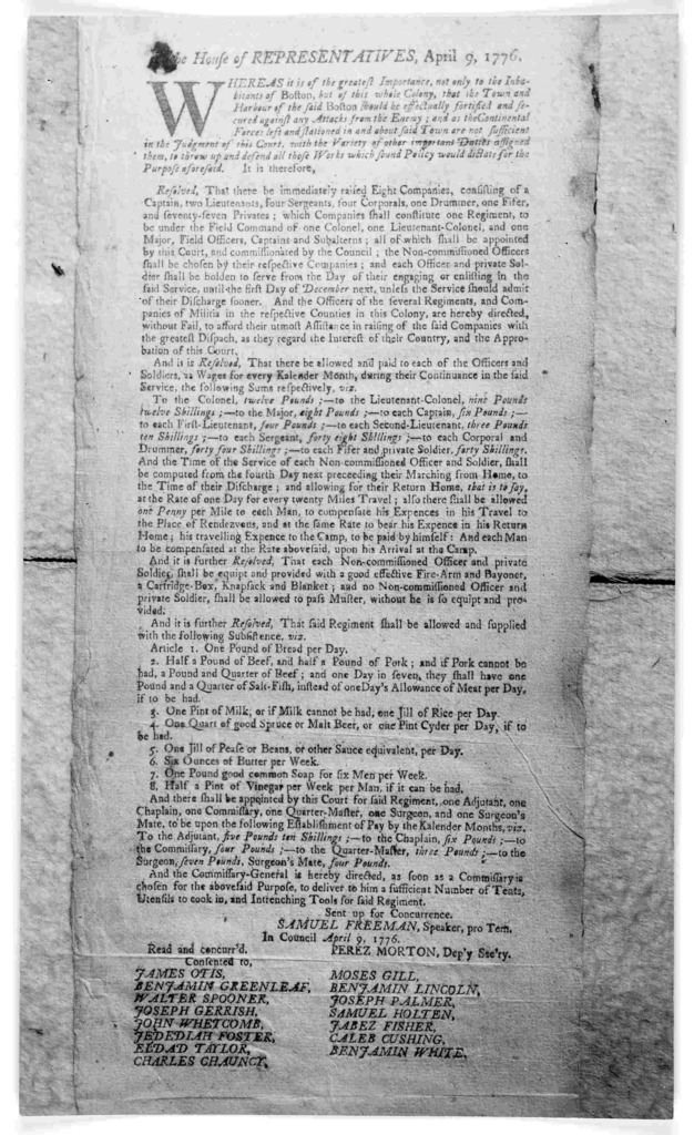 In the House of representatives, April 9, 1776. Whereas it is of the greatest importance not only to the inhabitants of Boston, but of this whole colony, that the town and harbour of the said Boston should be effectually fortified and secured ag