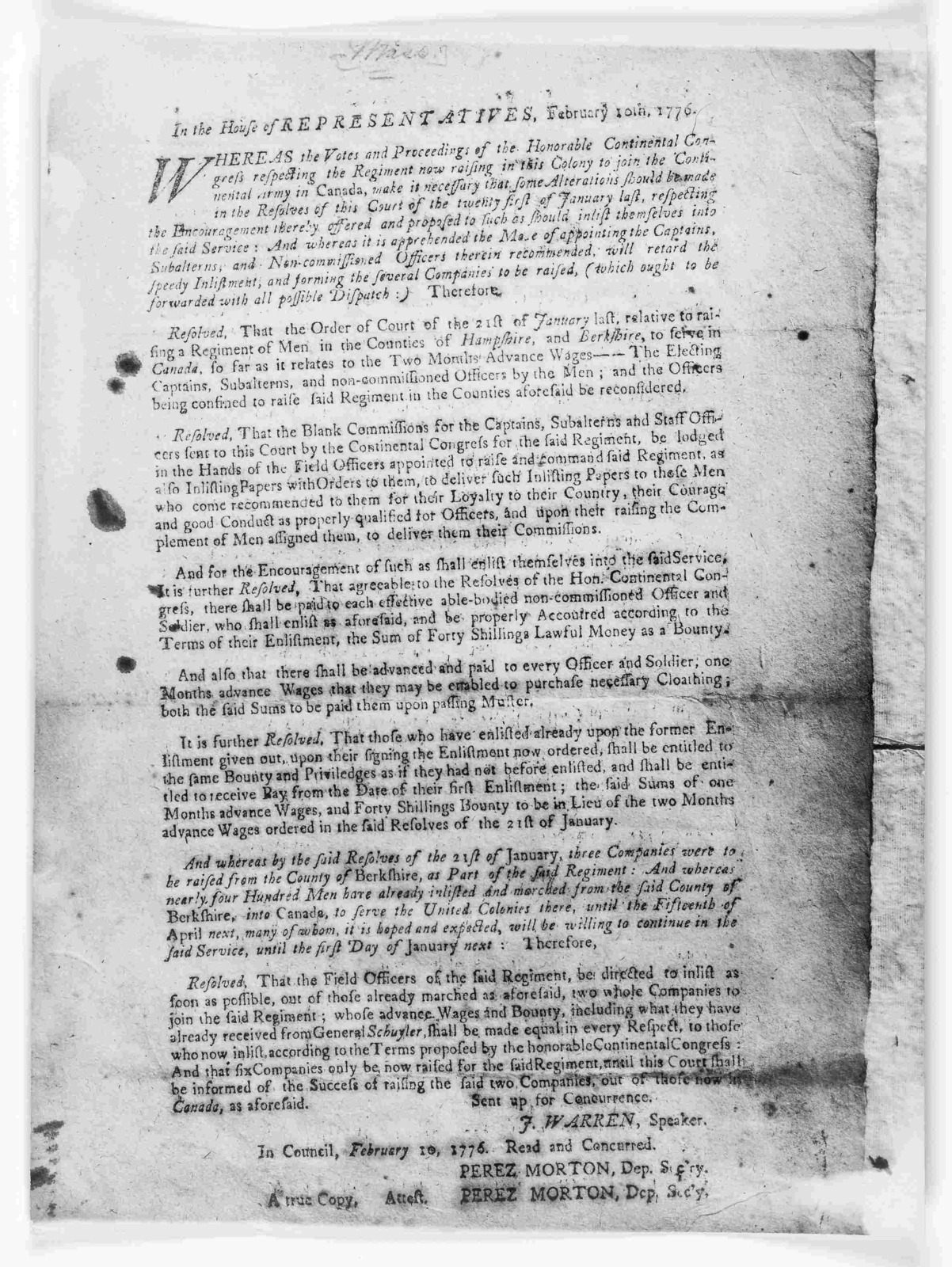 In the House of representatives. February 10 1776. Whereas the votes and proceedings of the Honorable Continental Congress respecting the regiment now raising in this Colony to join the Continental army in Canada, make it necessary that some alt
