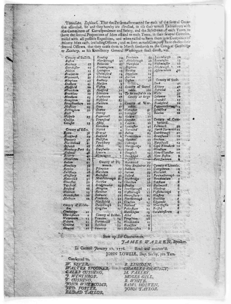 In the House of representatives. January 19, 1776. Whereas it is of great importance, not only to the inhabitants of this Colony, but also of all the United Colonies, that the lines and fortifications at Cambridge and Rosbury should at all event