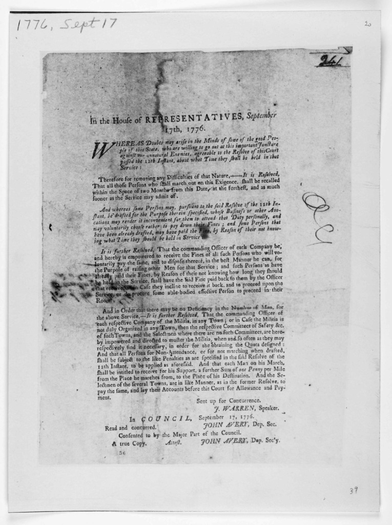 In the House of Representatives, September 17th, 1776. Whereas doubt may arise in the minds of some of the good people of this state, who are willing to go out at this important juncture against our unnatural enemies, agreeable to the resolve of