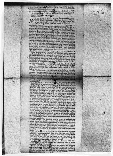 In the sixteenth year of the reign of George the third, King, &c. 1776. An act for the carrying into execution a resolve of the American Congress, for ascertaining the number of inhabitants in this Colony. [Watertown: Printed by Benjamin Edes, 1