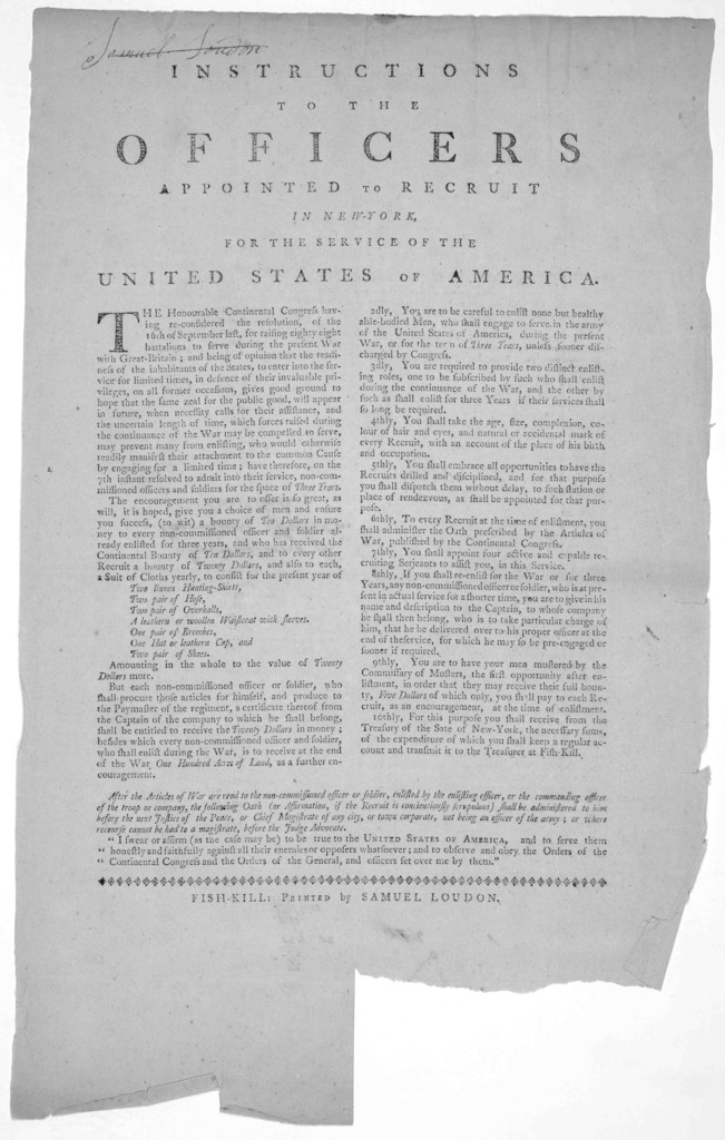 Instructions to the officers appointed to recruit in New-York, for the service of the United States of America ... Fish-Kill: Printed by Samuel Loudon [1776].