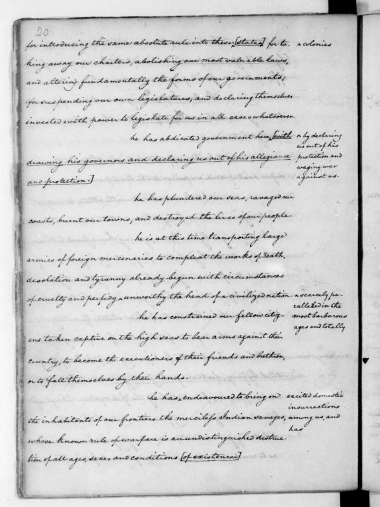 James Madison, June 7, 1776. John C. Payne's copy of Thomas Jefferson notes on debates of the Continental Congress.