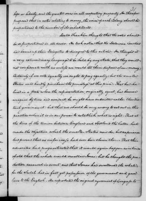 James Madison, June 7, 1776. John C. Payne's copy of Thomas Jefferson notes on debates of the Continental Congress.