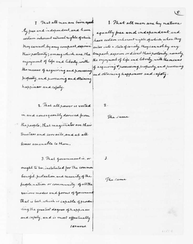 """James Madison, May 10, 1776. """"Independence and Constitution of Virginia"""""""