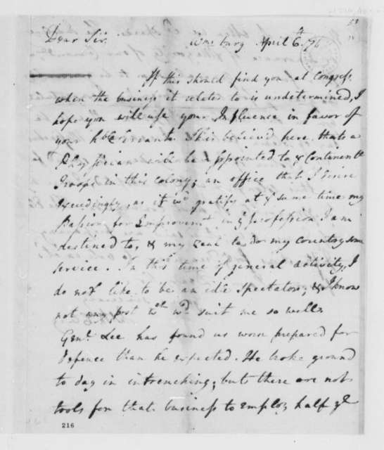 James McClurg to Thomas Jefferson, April 6, 1776, Physician to Continental Army