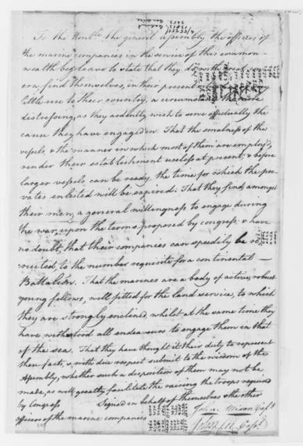 John Allison and John Lee to Virginia General Assembly, May 1776, Petition by Marines to Join Virginia Land Troops